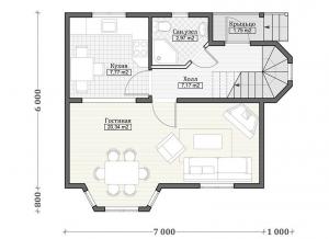 Каркасные дома  ПдС 12-82Ф